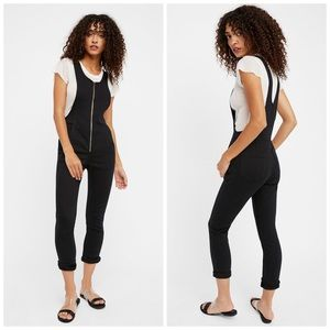 Free People Black Jack Zip Up Denim Jumpsuit, 12